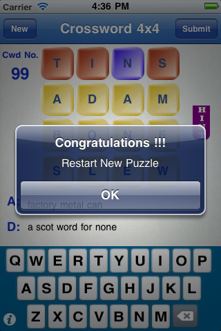 Screenshot 4×4 Crossword